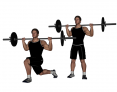 Barbell Crossover Lunge (Curtsy Lunge or Bowler's Lunge)