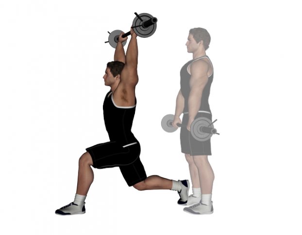 Front Barbell Lunges Barbell lunge with front raise