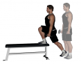 Dumbbell Elevated Front Foot Reverse Push Back