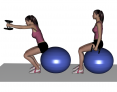 Dumbbell Seated Ball Squat with Front Raise