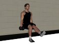 Static Single Leg Wall Squat with Dumbbell