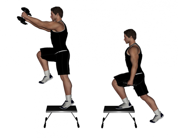 Dumbbell Step Up and Front Raise - youtrain.me | youtrain.