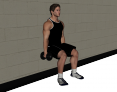 Dumbbell Static Wall Squat