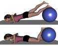 Prone Ball Press Down with Foot and Body Lift