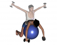 Stability Ball Kneeling Bilateral Reverse Dumbbell Fly