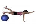 Stability Ball Prone Alternating Bird Dog with Ball under Toes
