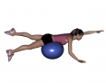 Stability Ball Prone Alternating Same Side Arm and Leg Lifts with Ball under Hips