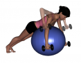 Stability Ball Prone Bilateral Dumbbell Row