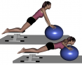 Stability Ball Prone Intermediate Kneeling Pushups