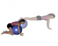 Stability Ball Prone Kneeling Walk to Toes