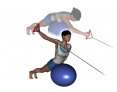 Stability Ball Prone Unilateral Low to High Tubing Reverse Fly