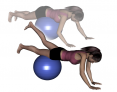 Stability Ball Prone Walk to Thighs with Leg Extension