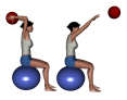 Stability Ball Seated Bilateral Overhead Medicine Ball Toss