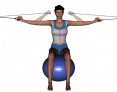 Stability Ball Sitting Bilateral Tubing Horizontal Arm Curl