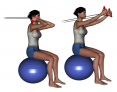 Stability Ball Sitting Bilateral Tubing Triceps Extension