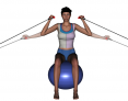 Stability Ball Sitting Tubing Bilateral Mid-Horizontal Arm Curl