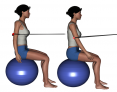 Stability Ball Sitting Tubing Bilateral Scapular Retraction
