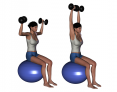 Stability Ball Sitting Bilateral Dumbbell Overhead Press