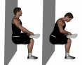 Static Single Leg Crossover Wall Squat